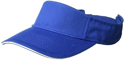 UltraClubs Men's ULTC-8113-Classic Cut Brushed Cotton Twill Sandwich Visor, Royal/White One Size