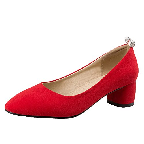 MissSaSa Damen Chunky heel Pointed Toe geschlossen Nubuck Pumps mit Strass Rot