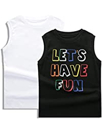 Boys 2-Pack 100% Cotton Active Tank Top Solid Color and Print-