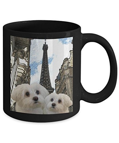Picture Maltese Dogs in Paris Black Coffee Mugs or Tea Cup For Maltese Dogs Lovers and Friends
