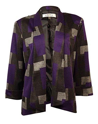 Sleeve Ponte Knit (Kasper Women's Printed Half Sleeve Ponte Knit Blazer (18, Plum Multi))