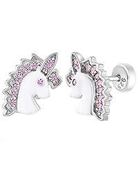 925 Sterling Silver Enamel & CZ Girls Unicorn Earrings Safety Push Back