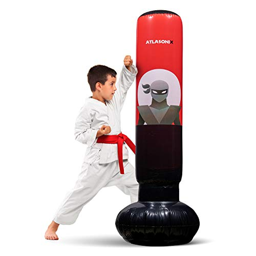 Inflatable Kids Punching Bag - Free Standing Ninja Boxing Bag for Immediate Bounce-Back for Practicing Karate, Taekwondo, MMA and to Relieve Pent Up Energy in Kids and Adults Age 5+ / Tall 5' 3