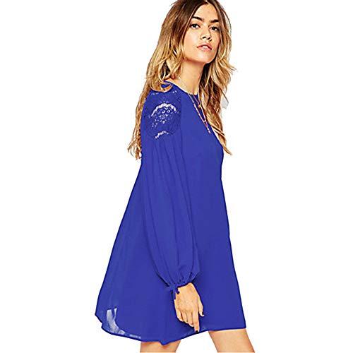 JIZHI Mujer Chic De Calle Gasa Vestido - Encaje, Un Color Sobre La Rodilla,Blue,M