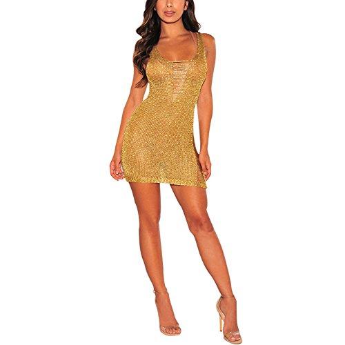 Mini Kleider Damen Sexy Sommer Gold Metallic Knit zerrissenen Cover ...