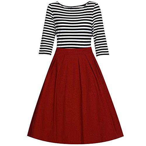 Della Banda Bettergirl Donne Rosso Vestito Mezzo Tm Del Oscillazione Casuale Manicotto Retro Nero xYSFxT0