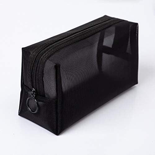 HTBG 1PCS女性男性Neceserコスメティックバッグ透明旅行ファッション小大ブラックトイレタリー化粧オーガナイザーバッグケースポーチ (Color : M 18x6x10cm)