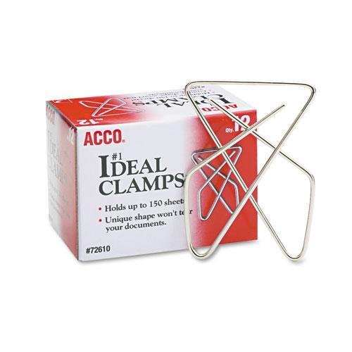 Acco 72610 Ideal Butterfly Clamps, Large, 150 Sheet Cap, Smooth Silver, (12 Sheet Cap)