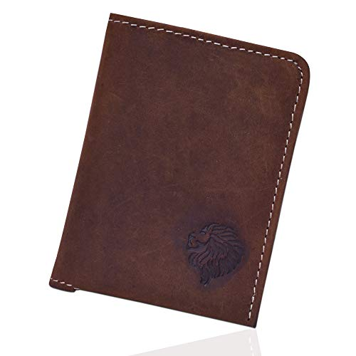 Louis Pelle Leather Minimalist Wallet RFID Blocking Bifold Slim Wallet (Vintage Brown)