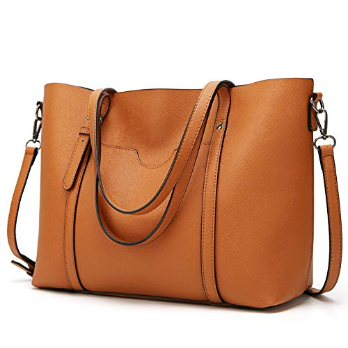 LoZoDo Women Top Handle Satchel Handbags Shoulder Bag Tote Purse (F-Brown)