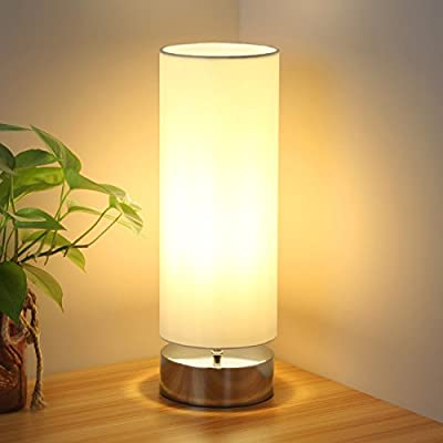 Touch Control Table Lamp Bedside Minimalist Desk Lamp Modern Accent Lamp Dimmable Touch Light with Cylinder Lamp Shade Night Light Nightstand Lamp for Bedroom Living Room Kitchen, E26 Bulb Included - 【Dimensions】 5.51 inch/140mm diameter, 17.52 inch/445mm high in total (lampshade height: 13.78 inch/350mm) with a 59 Inch/1500mm plug-in power cord 【Simple and elegant design】The minimalist table lamp features a black nickel base and white open-top cylinder shade. Perfect for setting a relaxing mood and creating a comfortable living environment 【Easy to use】Touch bedside lamp with 4 settings (Low, Medium, High, Off). UL-listed touch power source makes the touch desk lamp safer and more durable. Perfect for your aged grandparents and young children. Just tap the touch lamp base to turn it on and adjust light level - lamps, bedroom-decor, bedroom - 412xqyemN8L. SS400  -