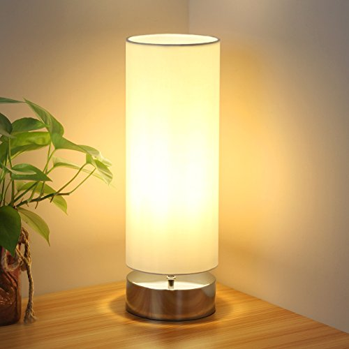 (Touch Control Table Lamp Bedside Minimalist Desk Lamp Modern Accent Lamp Dimmable Touch Light with Cylinder Lamp Shade Night Light Nightstand Lamp for Bedroom Living Room Kitchen, E26 Bulb Included)