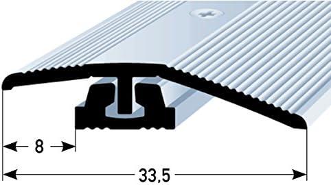 acerto 37189 Perfil de ajuste de altura de aluminio 90 cm plateado Tornillos incluidos Perfil de transici/ón para laminado parquet y moqueta List/ón de transici/ón Perfil de suelo para suelos 4-7 mm