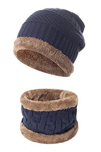 Beaii Sombrero de punto de calentamiento para hombres con forro polar Bufanda Azul-s