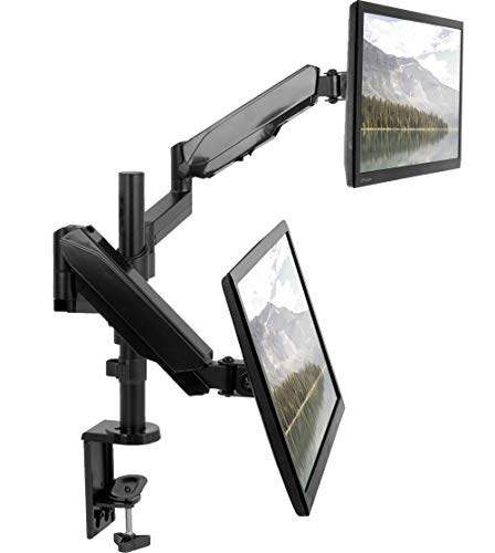 VIVO Dual Arm Computer Monitor Desk Mount with Pneumatic Height Adjustment, Full Articulation, Stackable Display | VESA Stand with C-clamp and Grommet, Holds Two (2) Screens up to 32