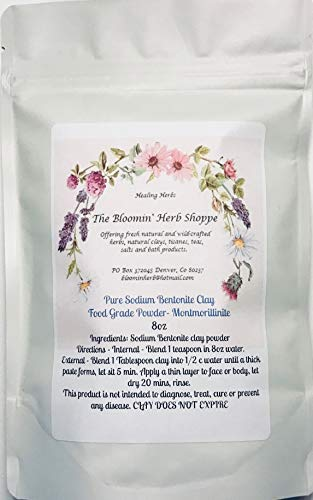 Bentonite Clay Montmorillonite Fine Powder ~ 8oz ~ NATURAL FOOD GRADE ~ from Wyoming ~ Detoxification ~ White Label Premium Herbs ~ Sodium Bentonite (Montmorillinite) ~ Water washed and no chemicals