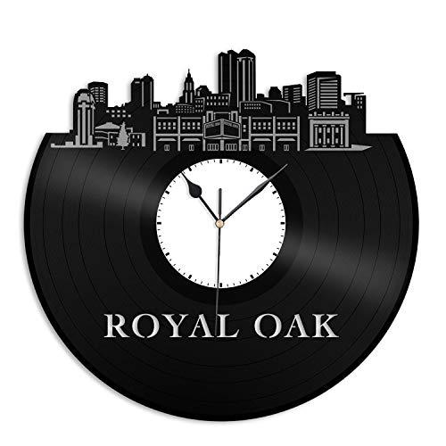 VinylShopUS - Royal Oak MI Vinyl Wall Clock City Skyline Cityscape Record Souvenir Unique Gift for Friends Men Women Office | Anniversary Home Room Decoration -