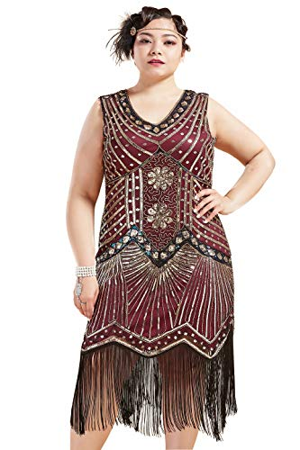 1920 Great Gatsby Dresses (BABEYOND Women's Plus Size Flapper Dresses 1920s V Neck Beaded Fringed Great Gatsby Dress (Gold WineRed, 3X Plus)