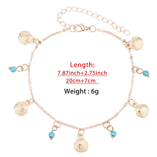 - 4Summer Beach Ankle Bracelets Multilayer 14K Gold Silver Plated Adjustable Charm Anklets Boho Ankle Beaded Chains Foot Jewelry Set for Women Girls (Gold-Shell)