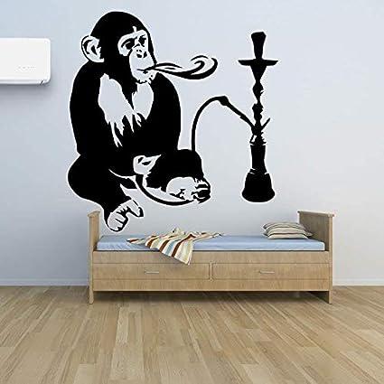 Mono y cachimba vinilo calcomanía decoración interior del hogar narguile relajación árabe pegatinas de pared extraíble divertido mono mural decoración del hogar etiqueta de la pared A2 42x45cm