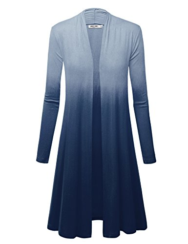 WSK1079 Womens Ombre Open Front Long Cardigan XXL Navy