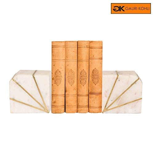 GAURI KOHLI Rustic Marble Bookends with Brass Inlay (Set of 2 | Color White)