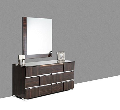 Limari Home The Cosme Collection Modern Decorative Lacquer Finished Hanging Wall Mounted Bedroom Dressing Mirror, Ebony