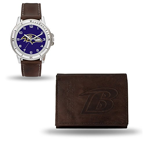 - Rico Industries NFL Baltimore Ravens Men's Watch and Wallet Set, Brown, 7.5 x 4.25 x 2.75-Inch