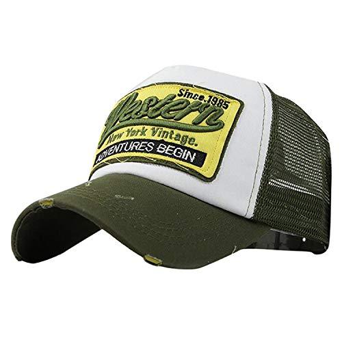 キャップ 男性 ヒップホップ 野球帽 夏帽子 カジュアル女性 刺繍 サンバイザー帽子,緑