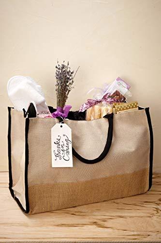 - Richland Burlap & Cotton Tote Bag with Black Trim & Lining