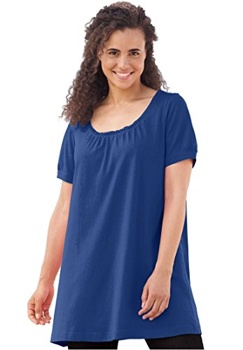 Women's Plus Size Petite Perfect Shirred U-Neck Tunic by Woman Within