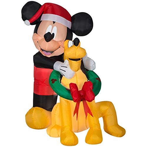 Disney Christmas Inflatables (Gemmy Disney 5 Ft. Mickey Mouse and Pluto Christmas Inflatable Indoor/Outdoor Holiday)