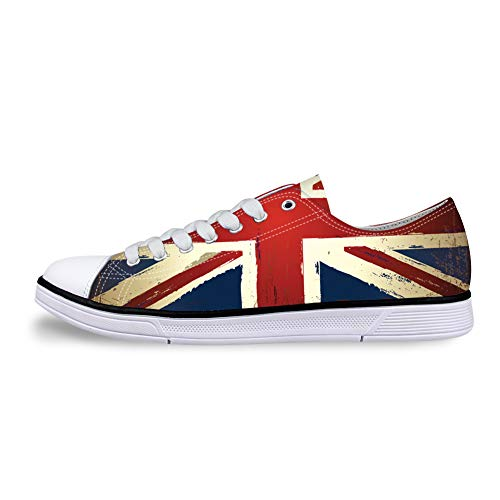 Casual Sneakers 3D Printed The British Flag Pattern for Women Canvas Flat Shoes for Men. -