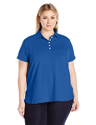 Sleeve Knit Pique Shirt (Riders by Lee Indigo Women's Plus Size Morgan Short Sleeve Polo Shirt, True Blue, 2X)