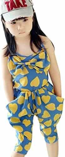 e5b5dd51e7f8 Shouhengda Toddler Kids Girl Jumpsuit Strap Romper Heart Harem Pants  Trousers 4-5Y