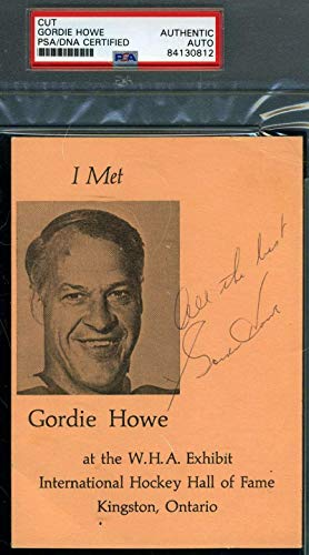 GORDIE HOWE Autograph Flyer Postcard Hand Signed - PSA/DNA Certified - NHL Cut Signatures
