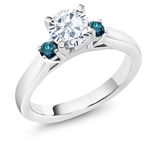 0.88 Ct White Created Moissanite Blue Diamond 925
