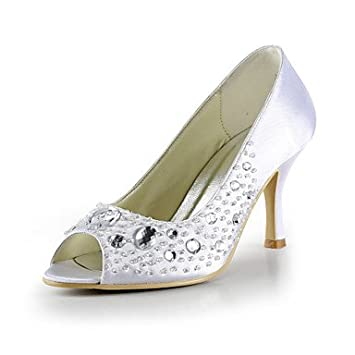 Court Shoes With Stilleto Heel Beading And Crystal Satin Wedding
