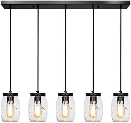 ZPKelin ZP-C0017 Glass Mason Jar Hanging Lamp 5-Light Linear Chandelier, Transparent