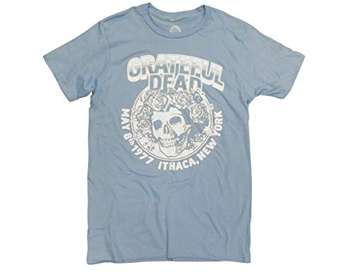 Ripple Junction Grateful Dead Ithaca New York Adult T-Shirt Small Heather Light Blue (Skeleton Jester)