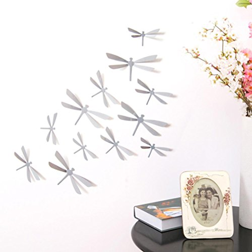 Wall Stickers ZTY66, 12Pcs 3D Dragonflies DIY Mural Stickers for Home Decor (Gray)