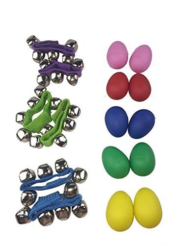 OPCC Musical Instruments Rhythm Toys Value Pack 6 Wrist Bells and 10 Maracas Plastic Percussion Maracas Shakers