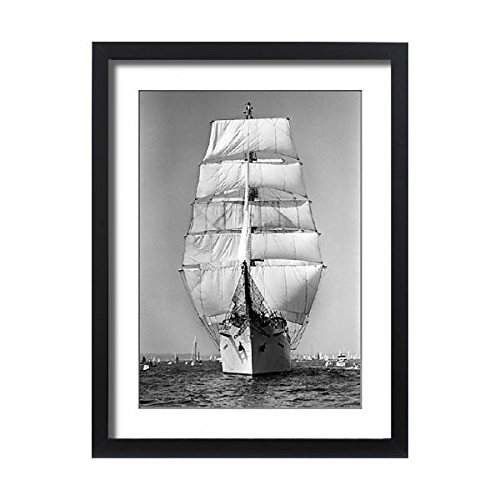 Framed 24x18 Print of The Dar Mlodziezy, Polish tall ship, fully rigged, Falmouth (Fully Rigged Ship)