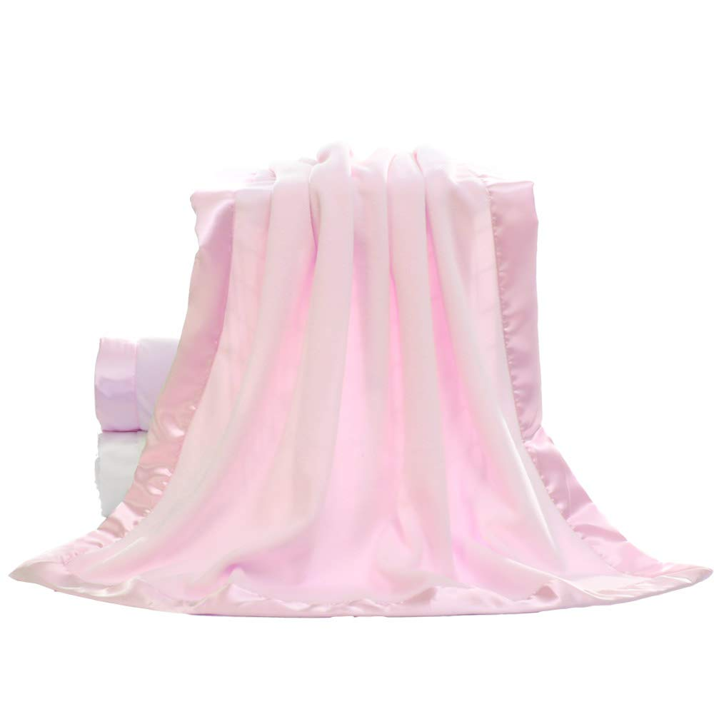TOP Fashion Baby Fleece Blanket with 2 Satin Trim plush gift for newborn boy girl 30 x 40 pink