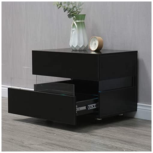 Bedroom Bedside Table,Modern Minimalist Style Storage Cabinet with Double Drawer and LED Light (Black) modern bedroom furniture