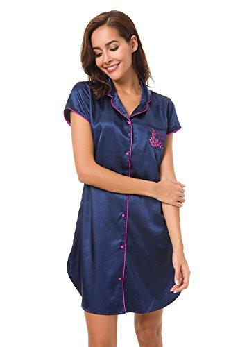 Button Silk Navy Front (Alcea Rosea Women's Short Sleeve Silk Satin Sleepwear Long Sleep Shirt Loungwear (Navy Blue, XL))