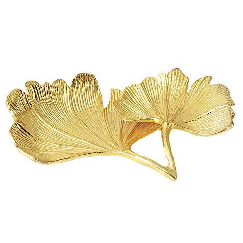 2 Tier Small Gold Jewelry Tray Ginkgo Biloba Leaf Decorative Galvanized Metal Display Tray Desk Table Makeup Organizer Hot Tub Storage Tray for Ring Necklace Container (Gold Ginkgo)