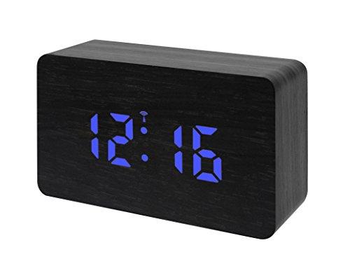 Bresser 8020400CM3BLU MyTime W Funk Wecker mit LED Display schwarz/blau