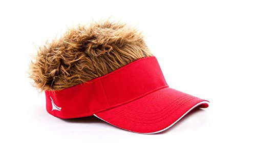 [Flair Hair Mens Visor with Brown Wig One Size Fits Most Red, Brown] (Biker Halloween Costumes For Adults)