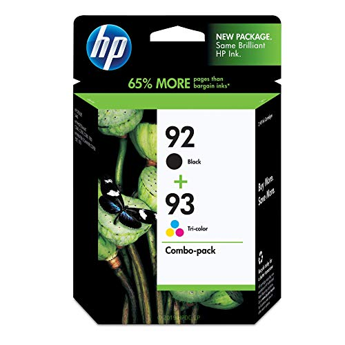 HP 92 Black & 93 Tri-color Ink Cartridges, 2 Cartridges (C9361WN, C9362WN) for HP Photosmart 2575 HP PSC 1510 ()